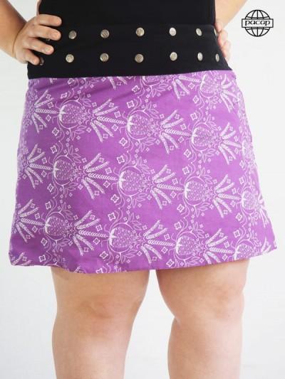 Skirt Mi-Longue Patineuse Violet Grande Réglable Large Ceinture Noire Boutsubscriber Brand French Responsible Officer