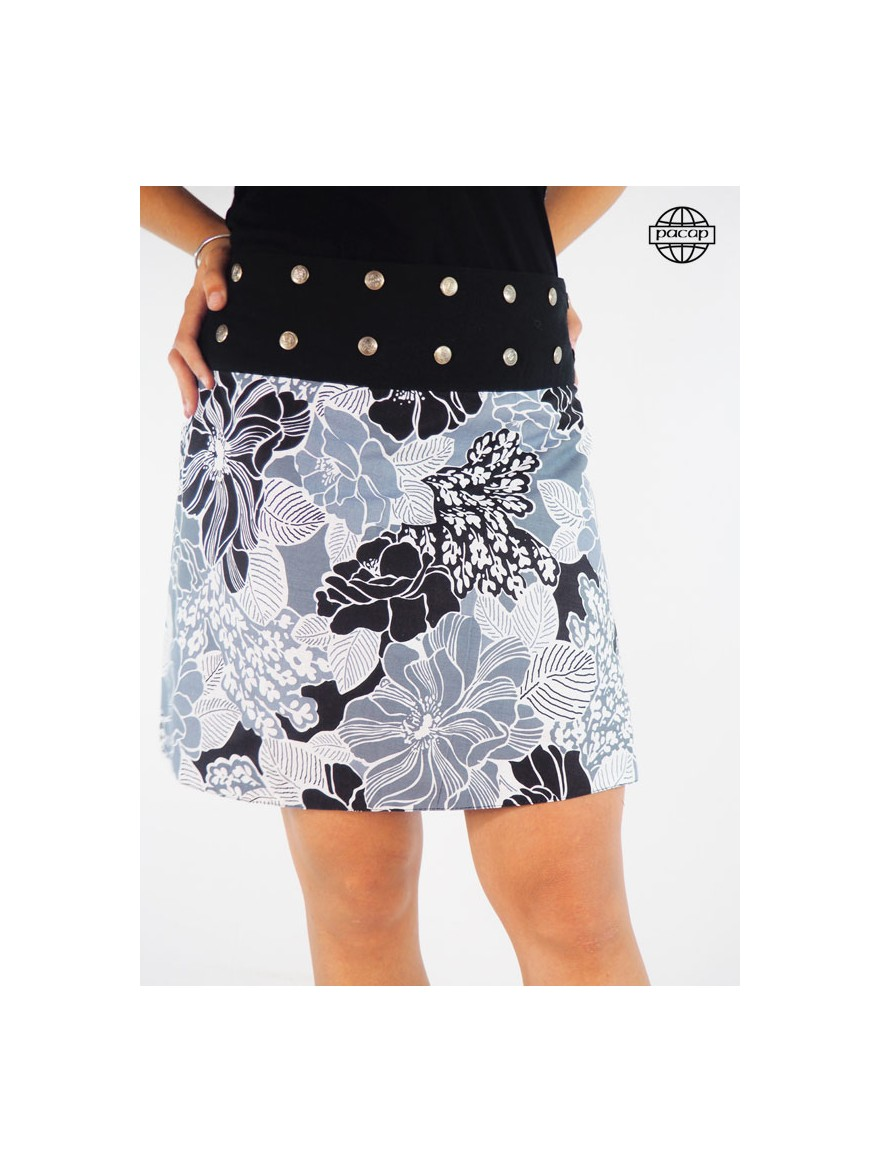 Female skirt cup trapezoid printed flowers blouria in cotton