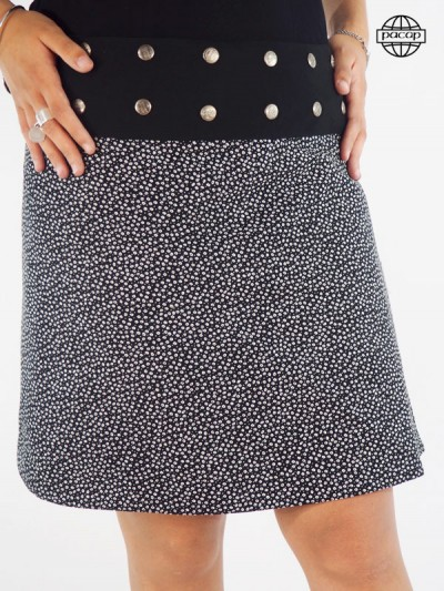 Black skirt printed liberty little white flowers close button pressure