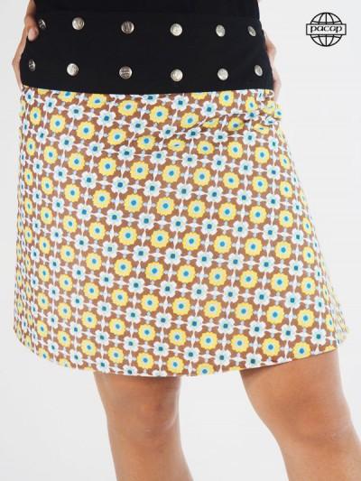 jupe marron pour femme bouton sur ceinture