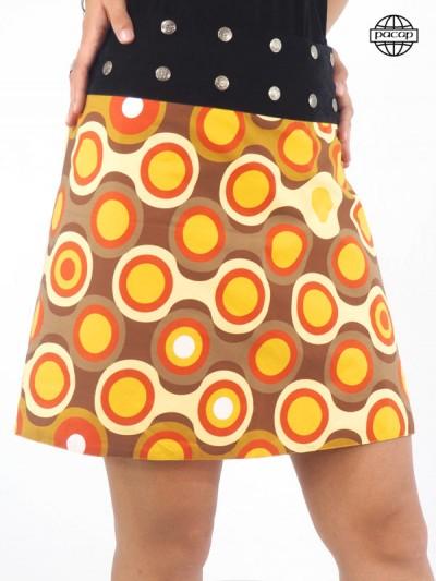 jupe orange et marron ceinture noire boutonnée