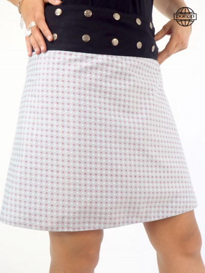 Buttoned grey ethnic skirt