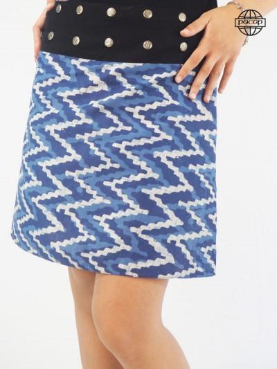 Printed blue skirt tie and dye