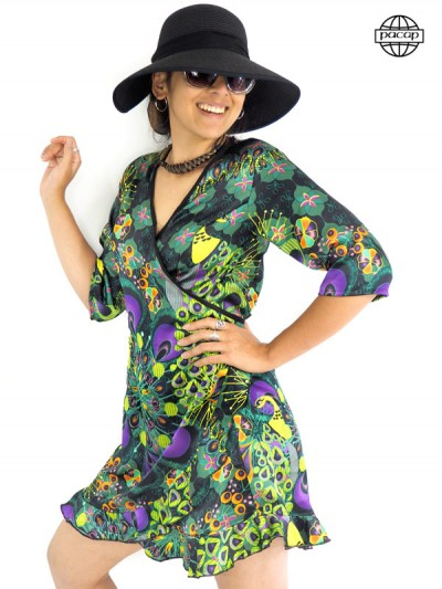 robe courte portefeuille Verte imprimé paon plume