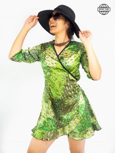 robe portefeuille satinée imprimé cachemire vert pomme