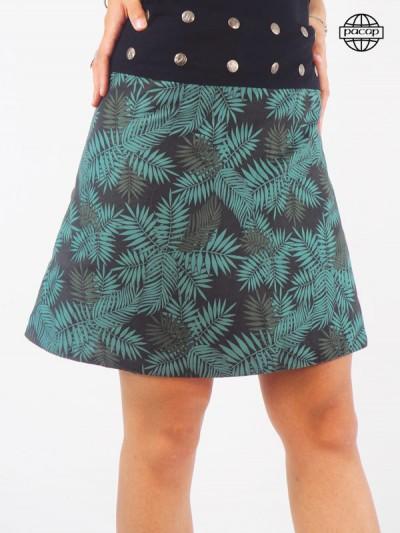 Female skirt printed foliage flat belly