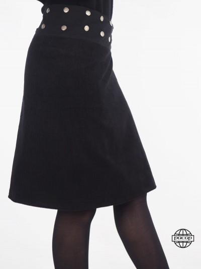 jupe longue noir en velours grosses côtes