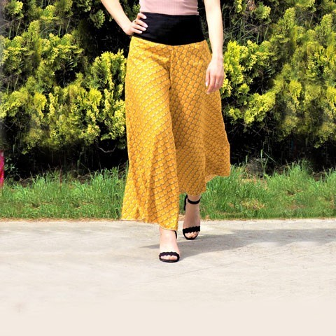 Pantalon Femme, Portefeuille, Fendue, Large Jambes et Imprimés  PACAP
