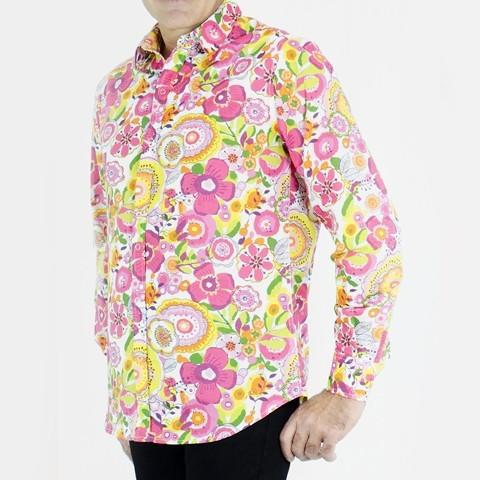Hawaiian Shirt Flower Shirt Printed Flower Manches Longues